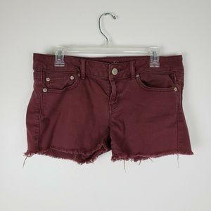 American Eagle Maroon Cutoff Jean Shorts